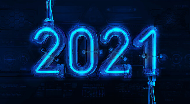 2021 neon text sign light billboard, night time. Glowing blue neon new year design 3D numbers on tech texture background. Merry christmas, Happy new 2021 year light banner sign greeting card, banner
