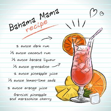 Bahama Mama cocktail, vector sketch hand drawn illustration, fresh summer alcoholic drink with recipe and fruits