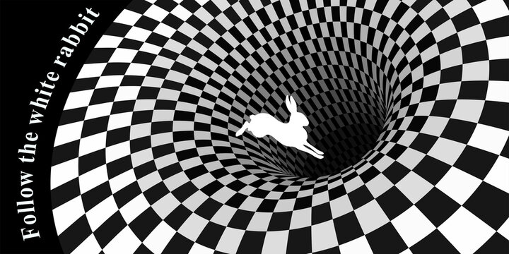 White rabbit runs and falls into a hole. Surreal chess background and lettering  follow the white rabbit.