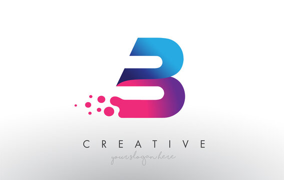 B Letter Design with Creative Dots Bubble Circles and Blue Pink Colors