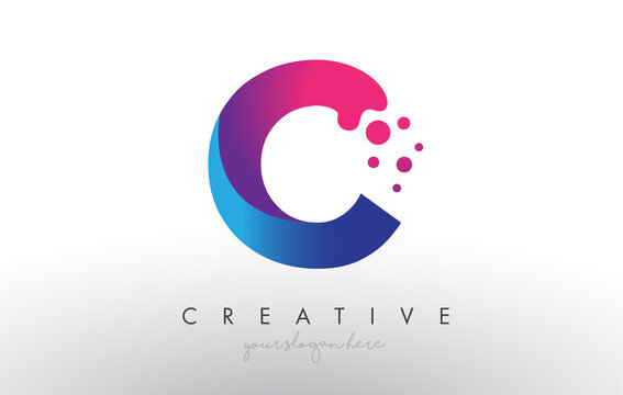 C Letter Design with Creative Dots Bubble Circles and Blue Pink Colors