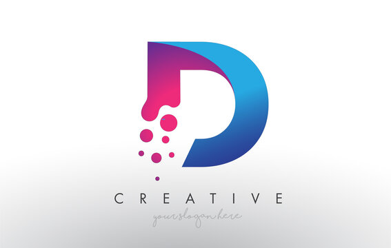 D Letter Design with Creative Dots Bubble Circles and Blue Pink Colors
