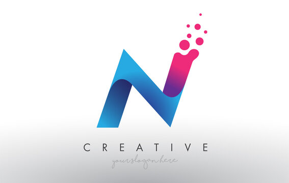 N Letter Design with Creative Dots Bubble Circles and Blue Pink Colors