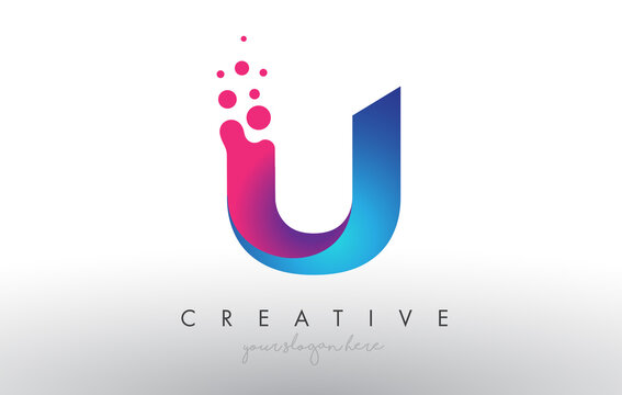 U Letter Design with Creative Dots Bubble Circles and Blue Pink Colors