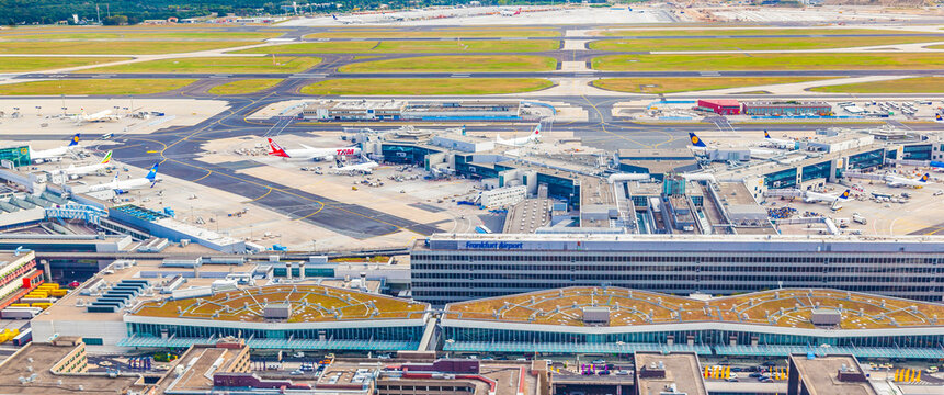 aerial view of Airport Frankfurt with terminal 1