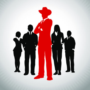 Bold American Tycoon leader in front of an of executive team.A successful executive team in silhouette led by a bold great american tycoon leader in red.