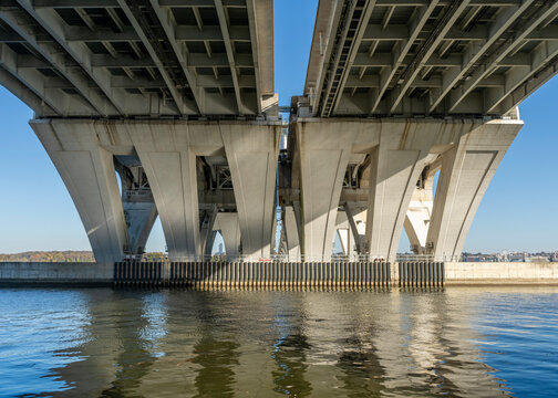 Underneath the Woodrow Wilson Bridge, which spans the Potomac River, connecting Alexandria, Virginia with the state of Maryland.