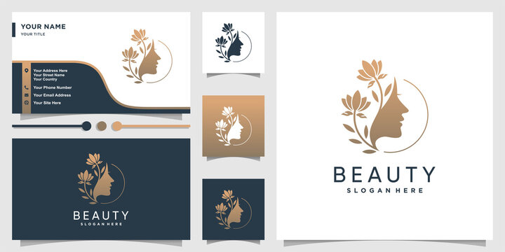 Woman logo with beauty gradient concept and business card design template Premium Vector