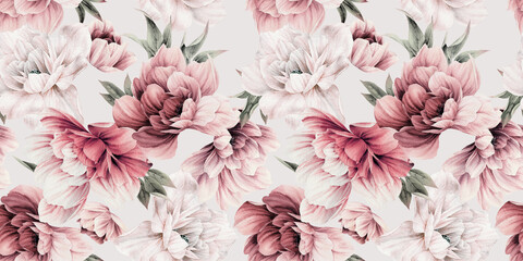 Obraz Seamless floral pattern with peony flowers on summer background, watercolor illustration. Template design for textiles, interior, clothes, wallpaper - fototapety do salonu