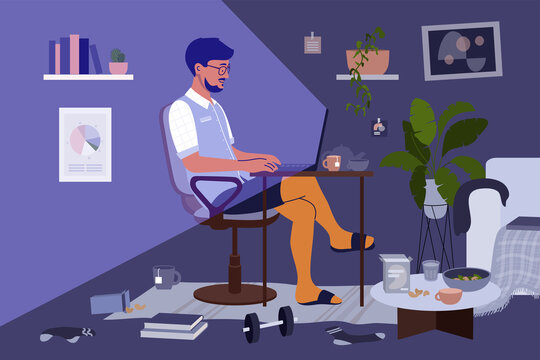 Messy home office. Business man, freelancer or student in shirt and shorts working from home by laptop. Virtuality vs reality of remote work. Guy making online video call in chaos. Vector illustration