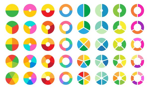 Colorful pie and donut chart collection for business infographic. Circle sections and round donuts pieces.