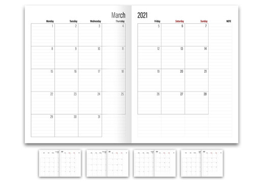 2021 Year Calender Planner Layout
