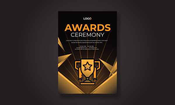 Golden award sign with modern glowing background, award ceremony flyer poster design