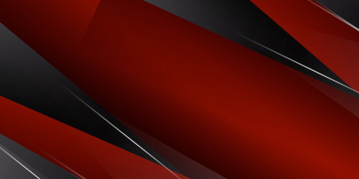 Modern shiny trendy black red abstract background with 3D layers and triangles