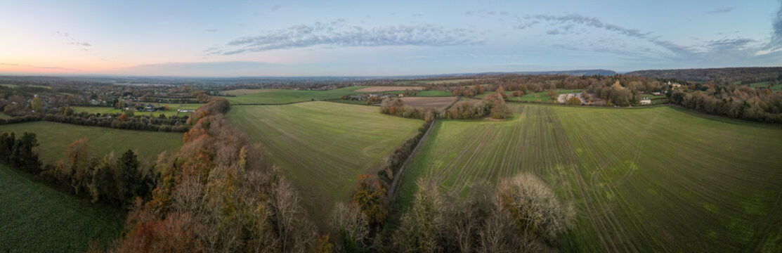 Aerial panorama of English countryside/ arable farmland in Surrey, south west England- UK