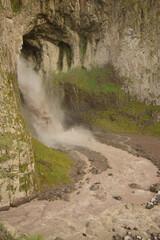Natural monument alpine waterfall Karakaya-su in rock in tract of Dzhily-Su