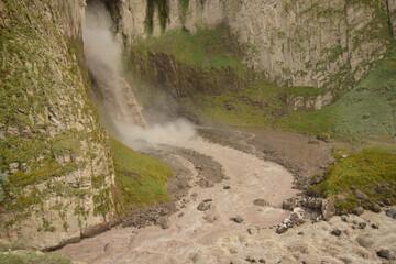 Panorama of the natural monument mountain waterfall Karakaya-su in rock in Dzhily-Su tract
