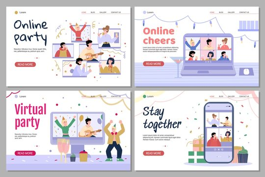 Online birthday, virtual party. Remote celebrations using internet for friends at a long distance or stay at home in quarantine. Set of landing pages templates. Vector illustrations