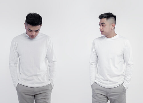 Asian man wearing white long sleeve t-shirt isolated on plain background