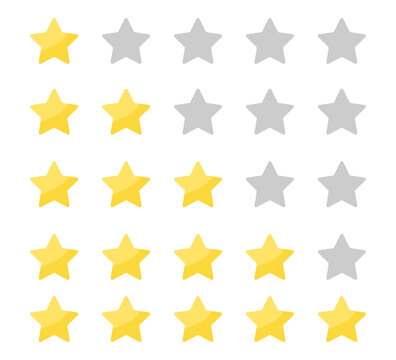 Yellow stars rating on white background. Feedback evaluation in flat design. Rank quality. Review stars symbol. Isolated top rate concept. Review rate icons on white background. Vector EPS 10.