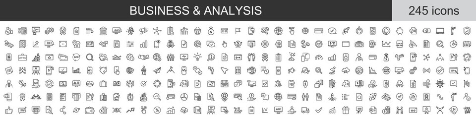 Obraz Big set of 245 Business and Analysis icons. Thin line icons collection. Vector illustration - fototapety do salonu