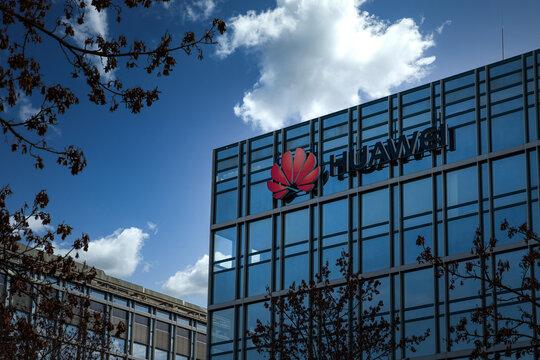 Huawei headquarters building. Munich, Germany - November 08, 2020