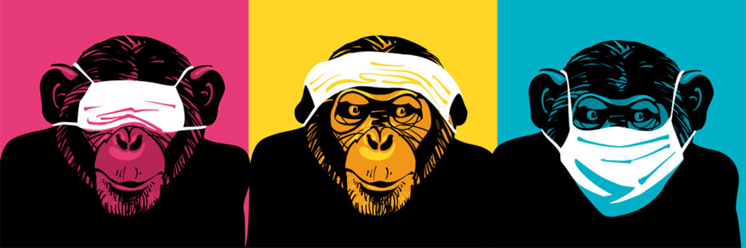 Three wise monkeys with medical face masks. Аllegory ignore problem and danger. Infection, Covid-19