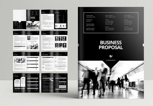 Professional Business Proposal Booklet Layout with Black Accents