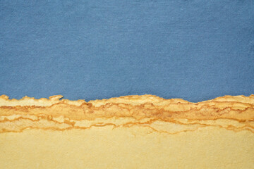 abstract landscape in blue and yellow pastel tones - a collection of colorful handmade cotton papers