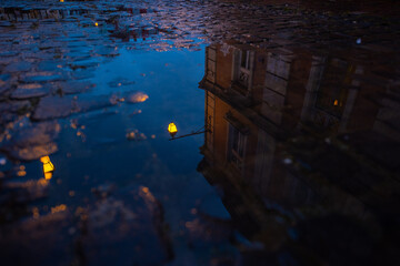 vintage old street lamp reflected in a puddle on pavement. rainy autumn background. cobblestone road Fotomurales