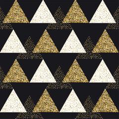 Modèle vectorielle continue de confettis de paillettes d& 39 or. Conception de sparcle de texture abstraite de triangle d& 39 or, illustration scintillante et brillante sur un fond noir.