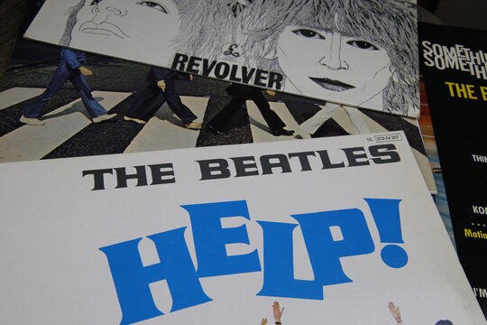 Viersen, Germany - May 9. 2020: Closeup of The Beatles band vinyl records covers (Focus on album Help)
