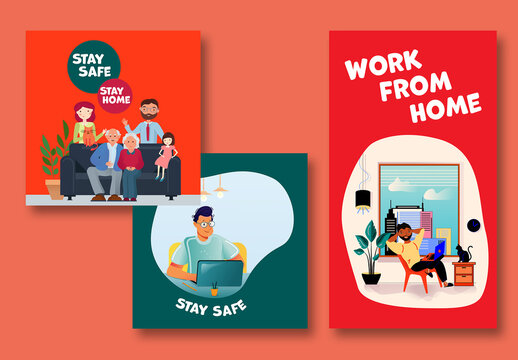 Stay Home Illustration Social Posts