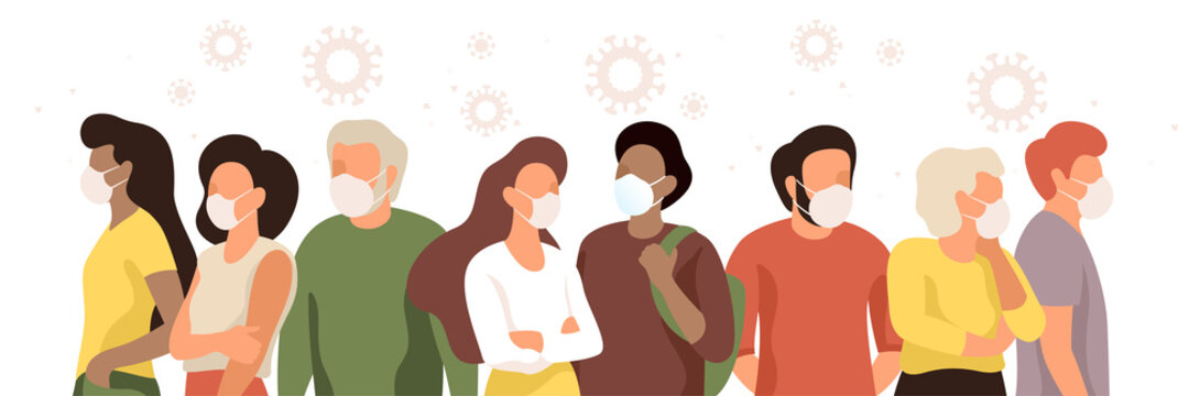 Multicultural men, women and seniors wearing medical masks during the epidemic to stop spread virus. Group of people standing isolated on white background. Natural color modern vector illustration