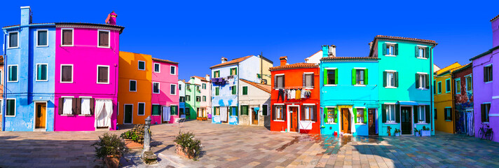 Most colorful traditional town (village) Burano - Island near of Venice. Italy travel and landmarks