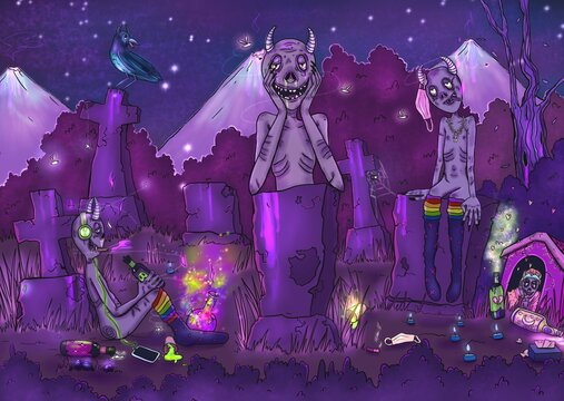 Illustration of mystical characters. A cemetery with freaks. Raster image in purple colors with glitter.