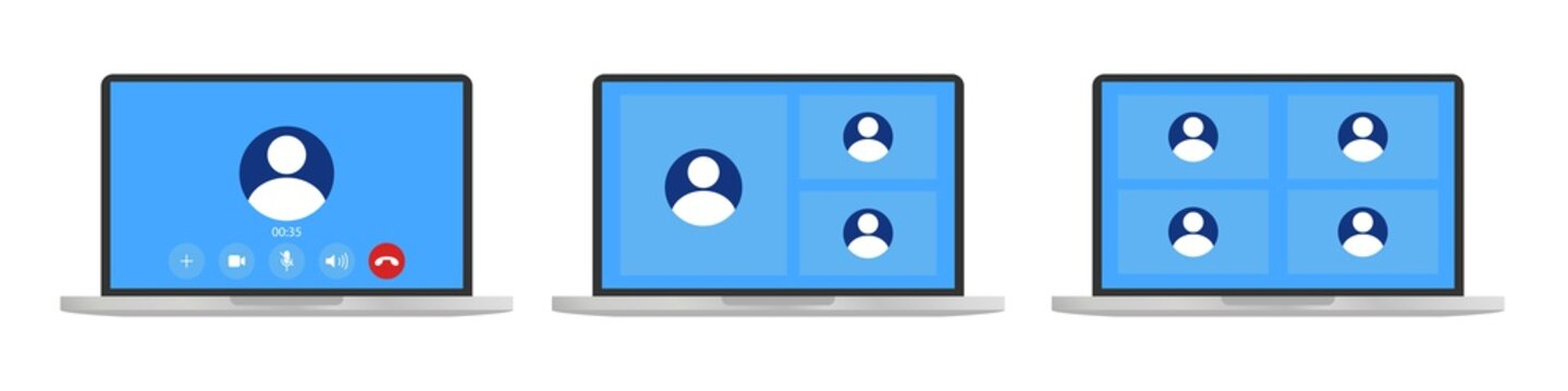 Video call template on laptop. Video conference icon . Users on computer screen.Online education . Office in home . 4 or 3 people in chat conference.Laptop with incoming call .