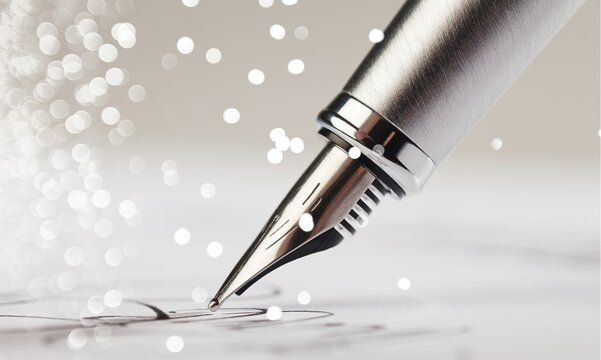 Signing a signature with a classic fountain pen