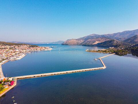 Debosset's bridge in argostoli Kefallonia and koutavos lagoon.