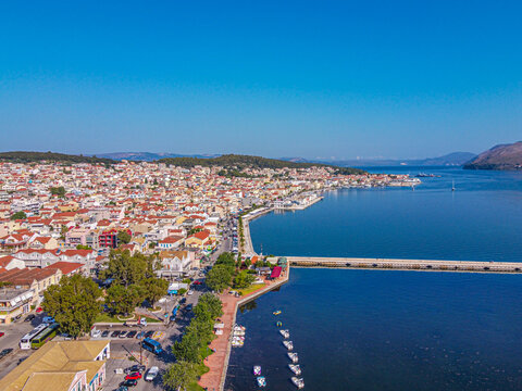 Aerial view of  the city of Kefalonia island in Argostoli with a part of de bosset's old bridge