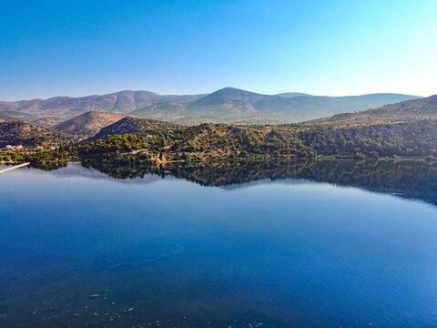 The Calm waters of Koutavos lagoon near Argostoli in Kefallonia Greece