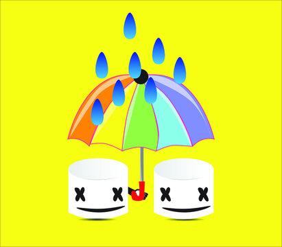 marshmello illustration under an umbrella