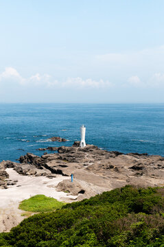 Lighthouse and rock cape at Miura peninsula in Kanagawa - Japan