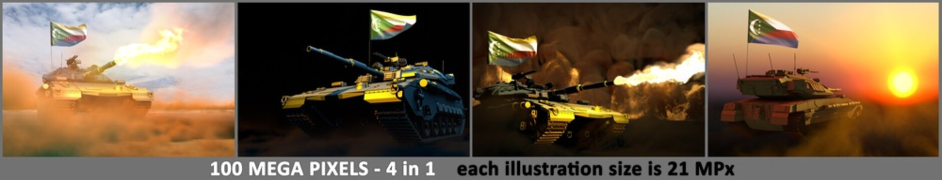 Comoros army concept - 4 high resolution images of tank with design that not exists with Comoros flag and free place for your text, military 3D Illustration