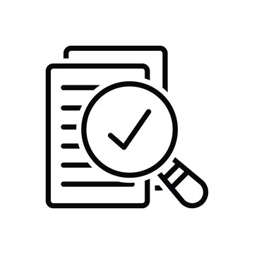Black line icon for assess