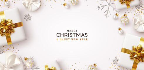 Merry Christmas and Happy New Year. Background Xmas design of realistic gifts box, 3d bauble balls, glitter gold confetti. Christmas poster, greeting cards. Flat lay, top view. Holiday composition