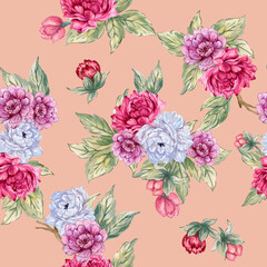 Seamless pattern with oriental flowers blossom and leaves asian style for trendy fabric print fashion Watercolor Illustration