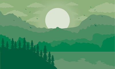 beautiful landscape scene with green lake