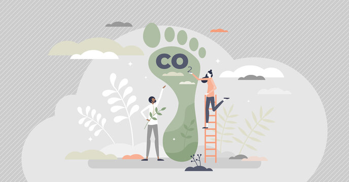 Carbon footprint as CO2 emission pollution amount in air tiny person concept