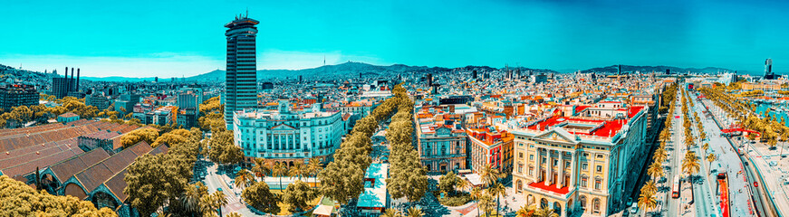 Panorama on whole Barcelona modern and historical areas. Spain.